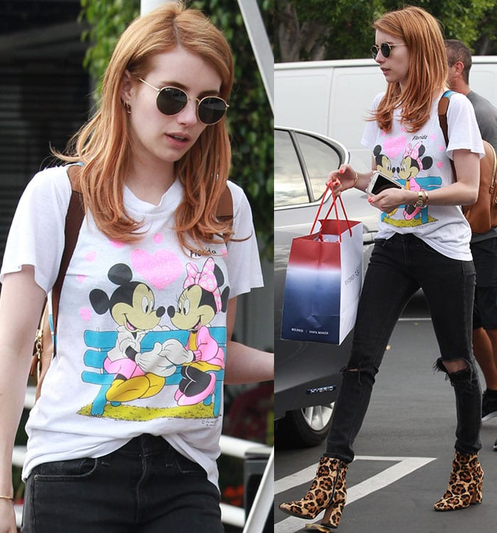 Emma-Roberts-mickey-mouse-tee-ripped-jeans