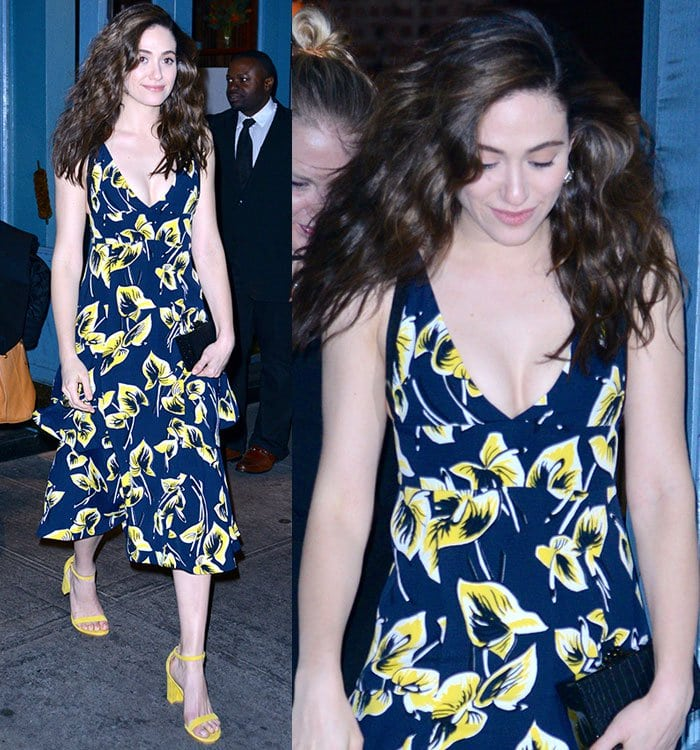 Emmy-Rossum-Marni-floral-printed-dress