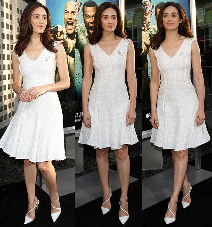 Emmy-Rossum-white-fit-flare-dress