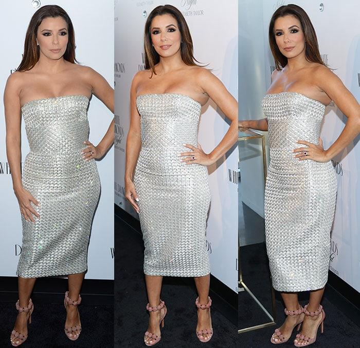 Eva-Longoria-curves-Ermanno-Scervino-silver-dress
