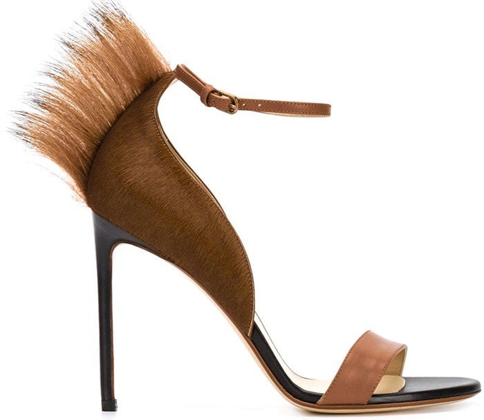 Francesco Russo Brown Pony Fur-Trim Sandal