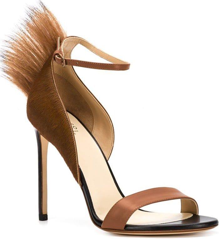 Francesco Russo Brown Pony Fur-Trim Sandals