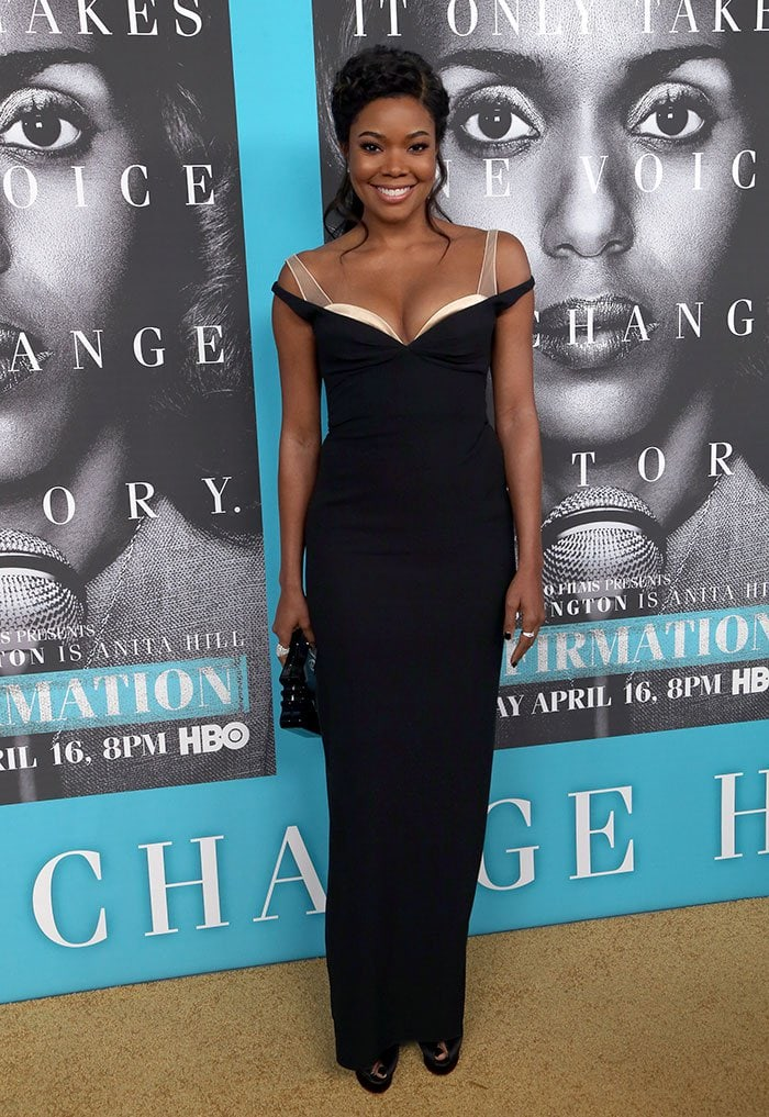 Gabrielle Union's low-cut off-the-shoulder dress by Marc Jacobs