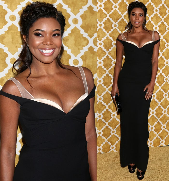 Gabrielle Union exposes some cleavage in a black Marc Jacobs gown