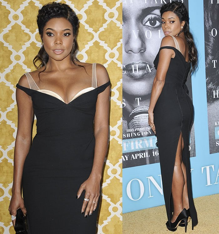 Gabrielle Union wears a black Marc Jacobs sleeveless gown with exposed satin cups and mesh straps
