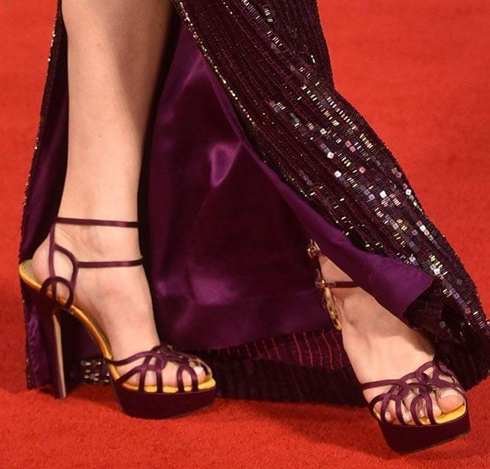 Gemma Arterton In Strappy Charlotte Olympia Ursula Heels