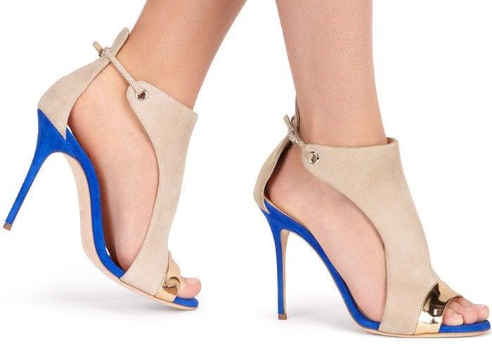 Giuseppe Zanotti Two-Tone Suede Open-Toe Sandal in Cobalt Blue