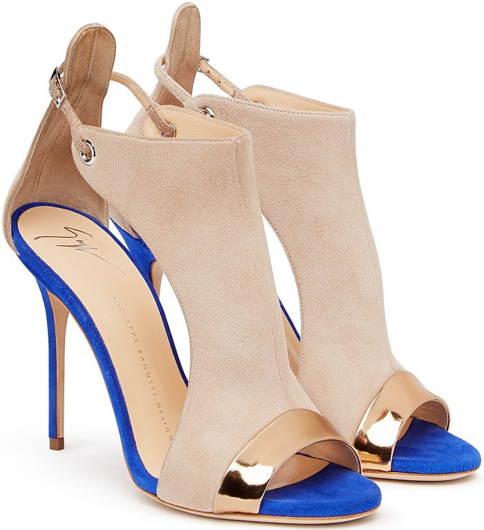 Giuseppe Zanotti Two-Tone Suede Open-Toe Sandals in Cobalt Blue
