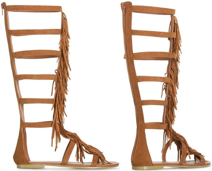 Gladiator Fringe Sandal Brown