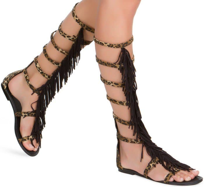 Gladiator Fringe Sandal in Animal
