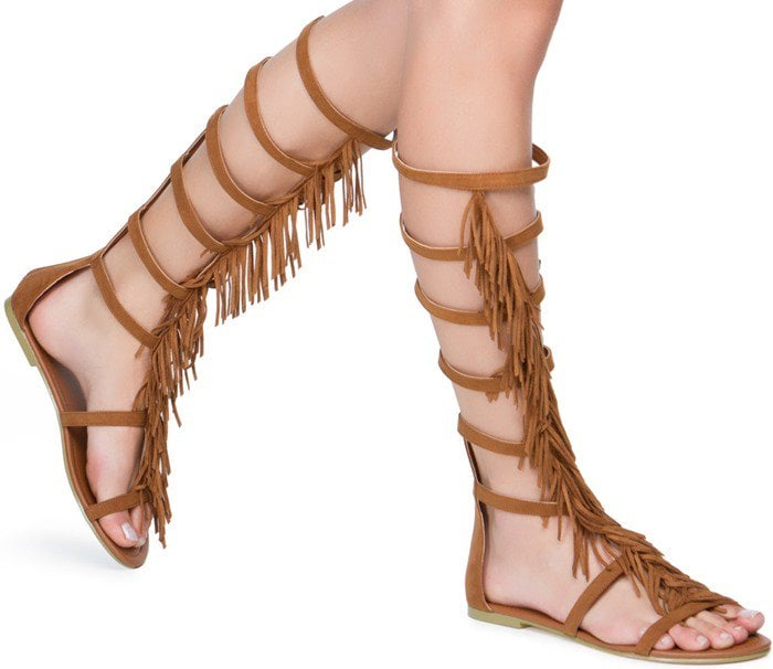 Gladiator Fringe Sandal in Brown