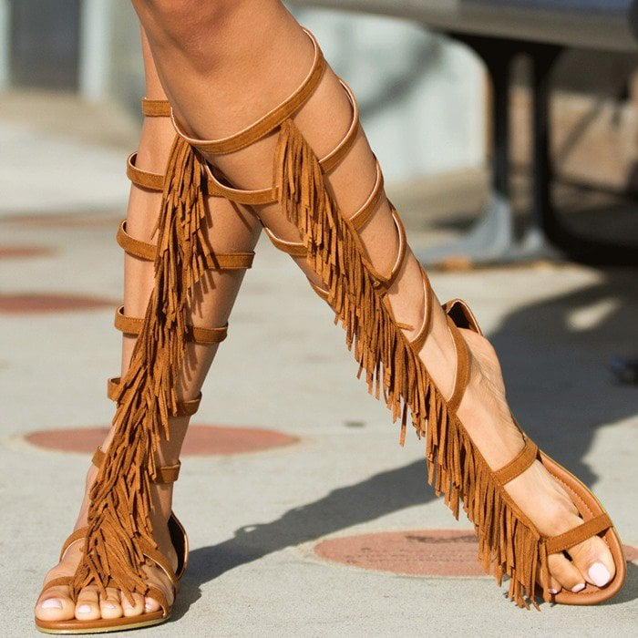 'Lyla' Fringe Embellished Sandals