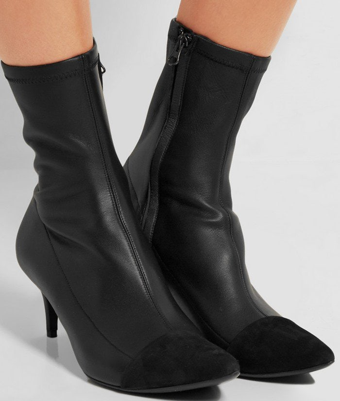 Haider Ackermann Suede-paneled stretch-leather boot