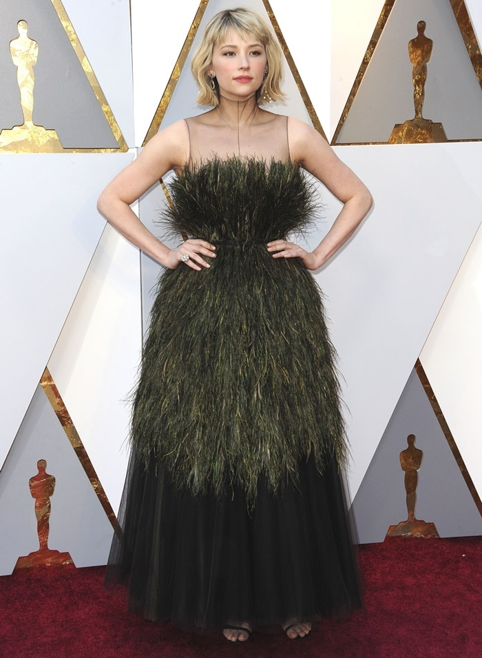 Haley Bennett in a grass-embellished Christian Dior Spring 2018 Couture dress at the 2018 Oscars at the Hollywood & Highland Center in Hollywood, California, on March 4, 2018