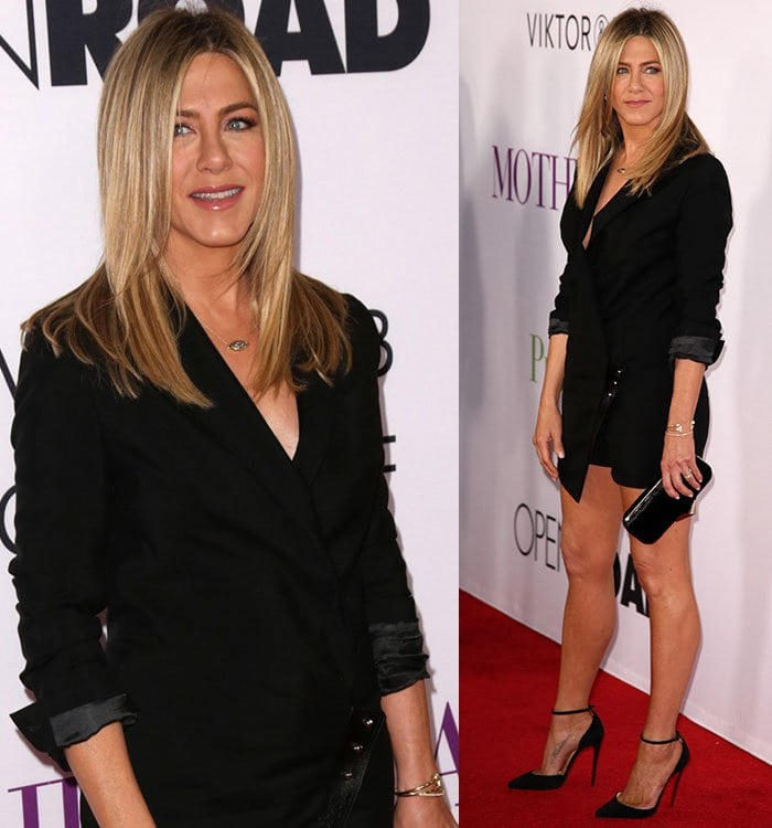 Jennifer Aniston gave a glimpse of cleavage in the sharp but sexy outfit