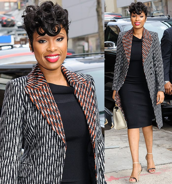 Jennifer Hudson wearing a patterned coat with contrasting lapels and collar