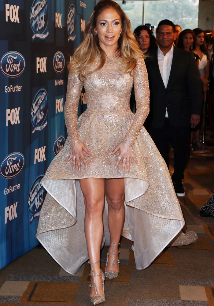 Jennifer Lopez in a gorgeous high-low glitter dress by Elie Madi