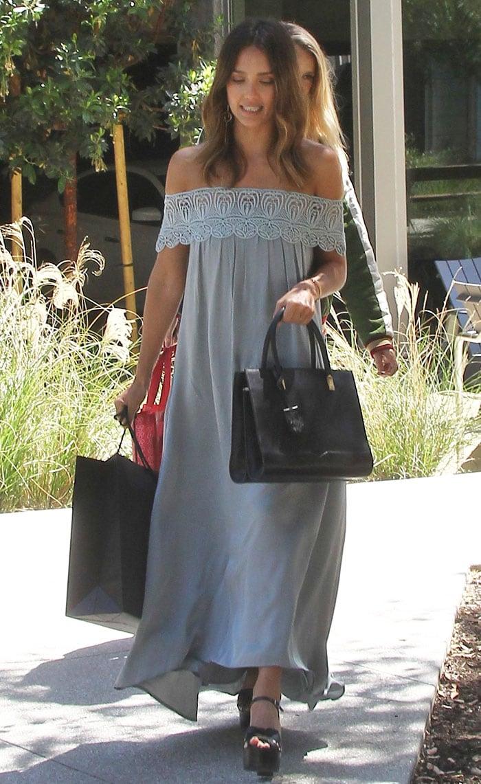 Jessica-Alba-Self-Portrait-off-the-shoulder-maxi-dress
