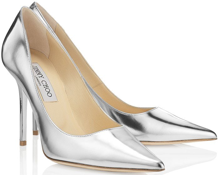 Jimmy Choo Abel Silver Mirror Leather Pointy Toe Pumps