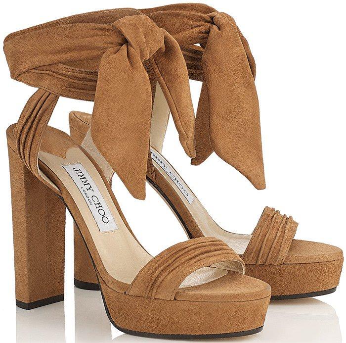 Jimmy Choo Kaytrin Suede 120mm Platform Sandal in Canyon Soft Suede