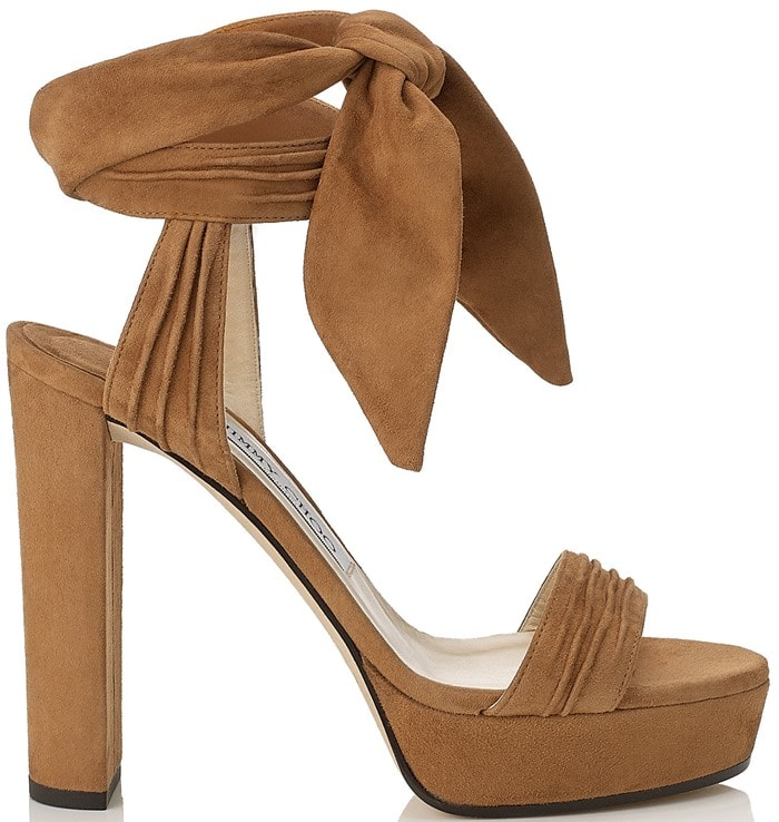 Jimmy Choo Kaytrin Suede 120mm Platform Sandals in Canyon Soft Suede
