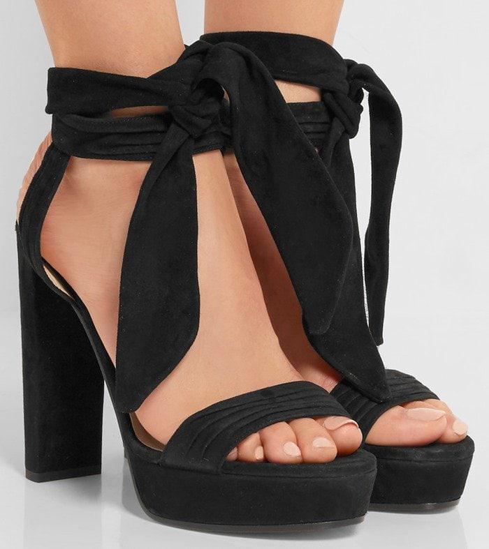Jimmy Choo Kaytrin suede platform sandals in black suede