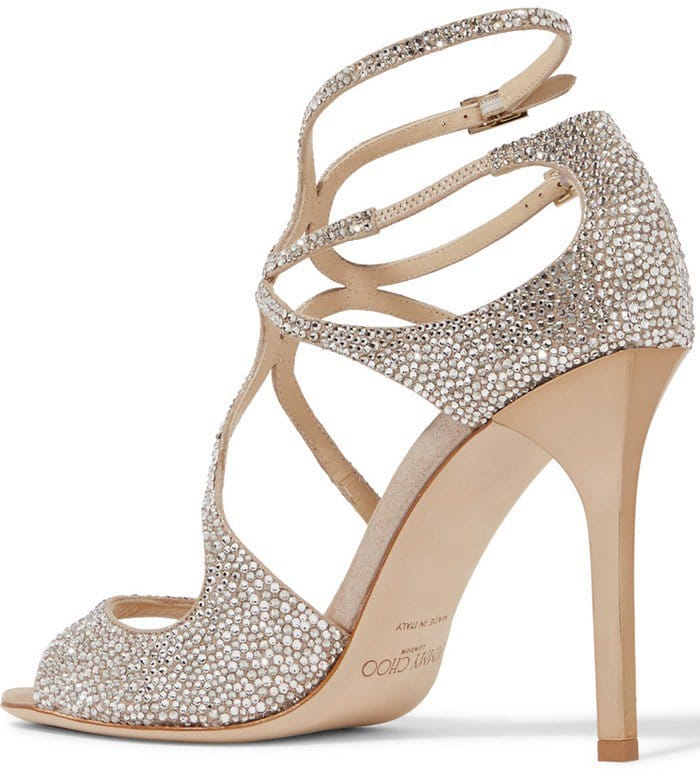 Jimmy Choo Memento Lang crystal-embellished metallic sandals
