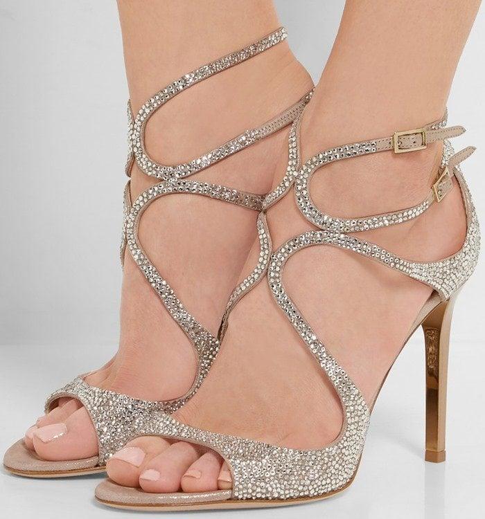 Jimmy Choo Memento Lang crystal-embellished metallic suede sandal