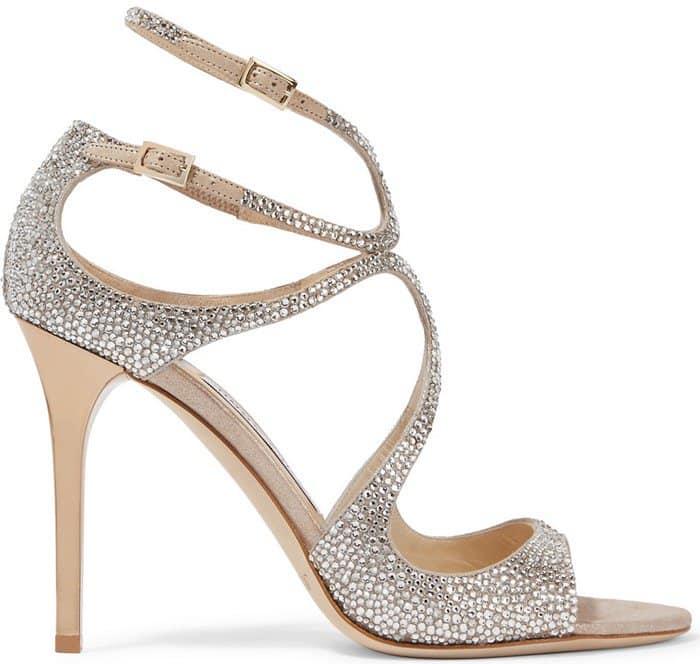 Jimmy Choo Memento Lang crystal-embellished metallic suede sandals