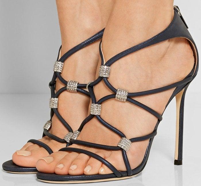 Jimmy Choo Memento Tetrus Swarovski crystal-embellished leather sandal