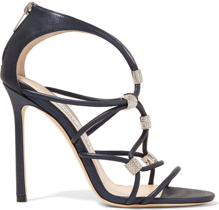 Jimmy Choo Memento Tetrus Swarovski crystal-embellished leather sandals