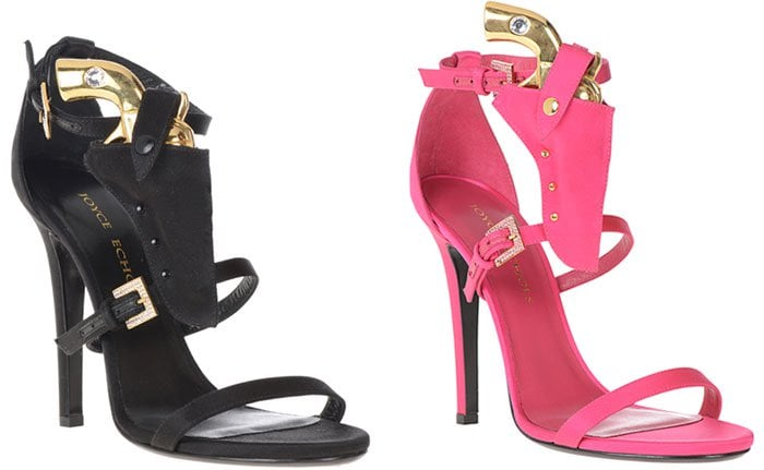 Black and Pink Joyce Echols Come and Take It Pistol Sandals