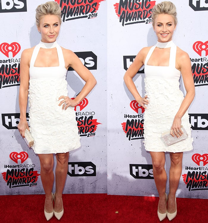 Julianne-Hough-Jil-Stuart-white-dress-Casadei-pumps