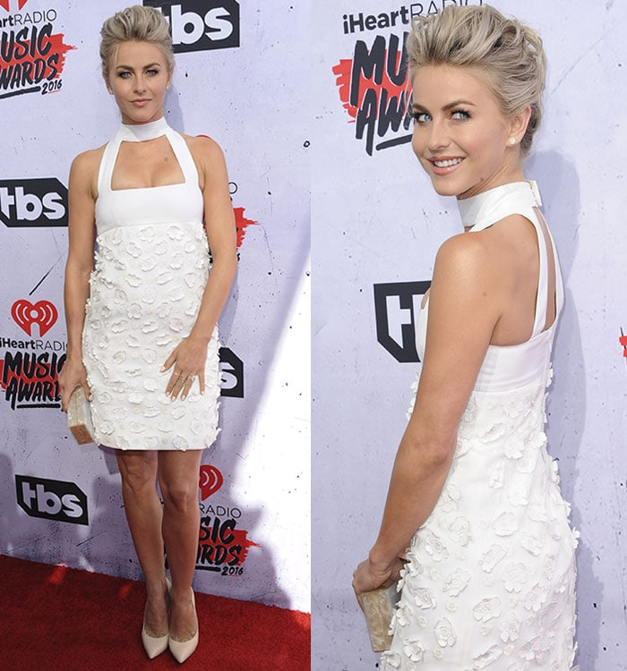 Julianne-Hough-Jil-Stuart-white-floral-applique-dress