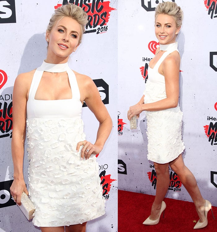 Julianne-Hough-white-halter-neck-floral-applique-dress