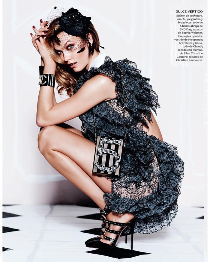 Karlie Kloss in the December issue of Vogue Mexico