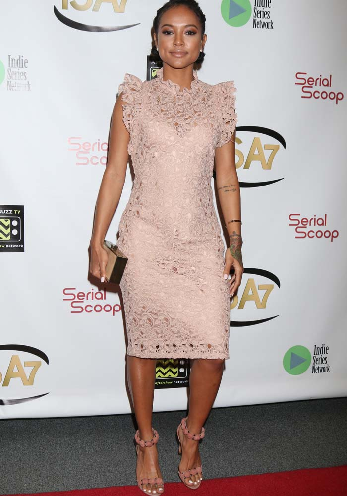 Karrueche Tran wearing a $99 blush lace dress from Zara