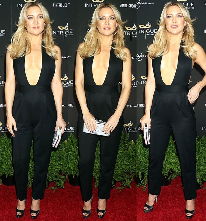 Kate-Hudson-cleavage-plunging-black-halter-jumpsuit