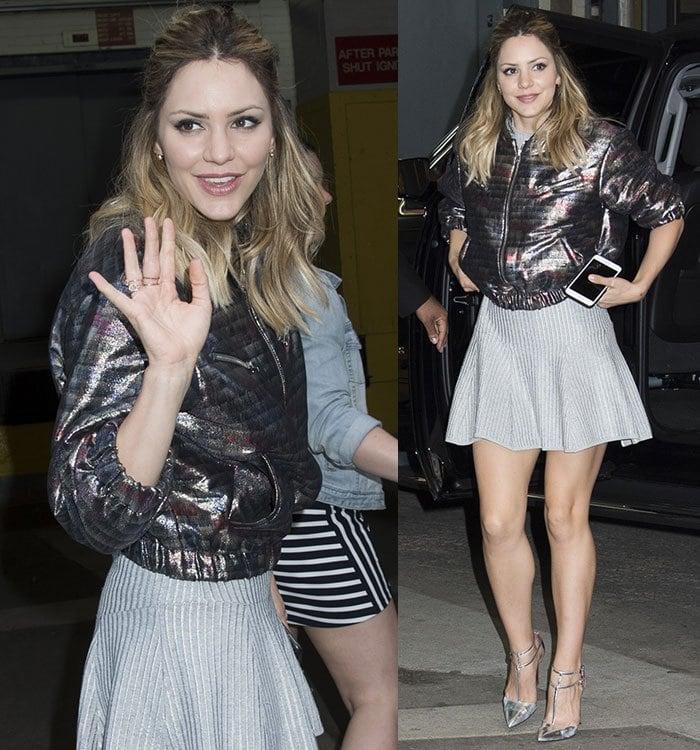 Katharine-McPhee-legs-ribbed-knit-mini-skirt-metallic-jacket