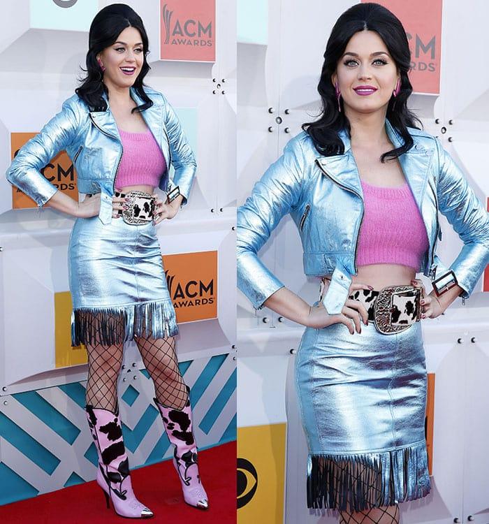 Katy-Perry-Jeremy-Scott-metallic-blue-jacket-fringed-skirt