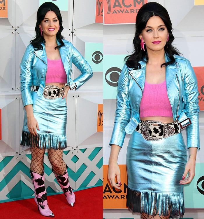 Katy-Perry-metallic-blue-jacket-fringed-skirt-pink-top
