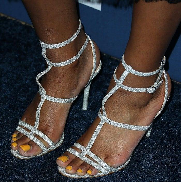 Keke Palmer's sexy feet in Aldo sandals