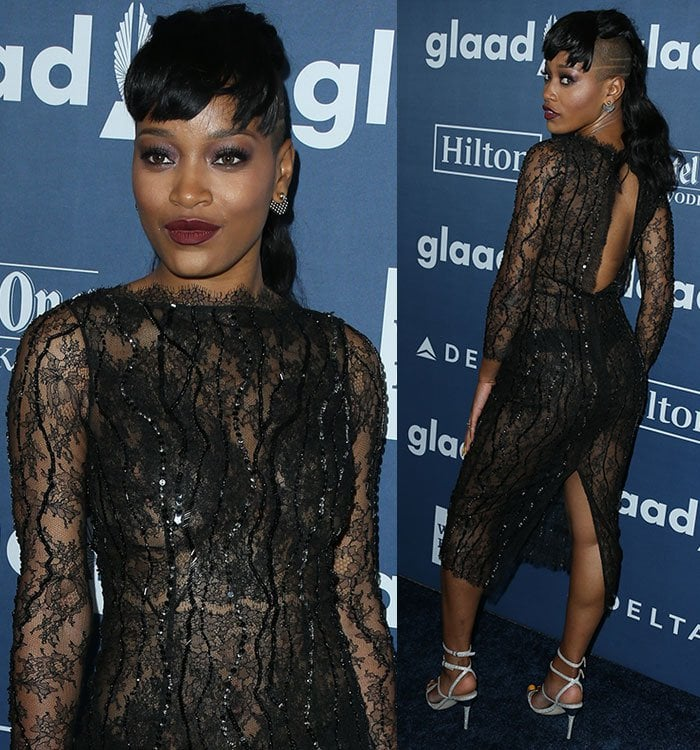 Keke Palmer wearing a dress by celebrity designer Thai Nguyen at the 27th Annual GLAAD Media Awards