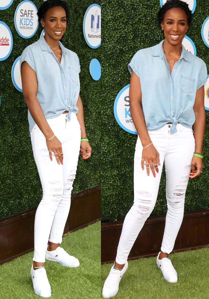 Kelly Rowland in tie-front chambray top and distressed white jeans from Frame Denim