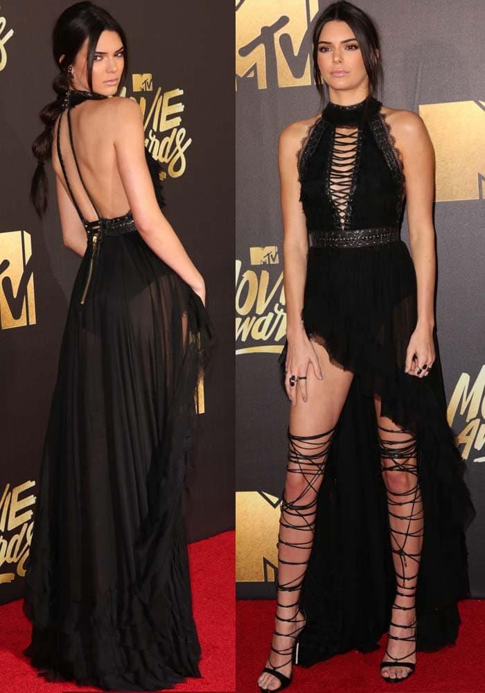 Kendall Jennerin a sheer asymmetrical dress by Kristian Aadnevik