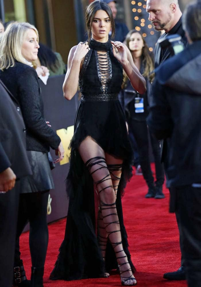 Kendall Jenner works the red carpet in a Kristian Aadnevik creation