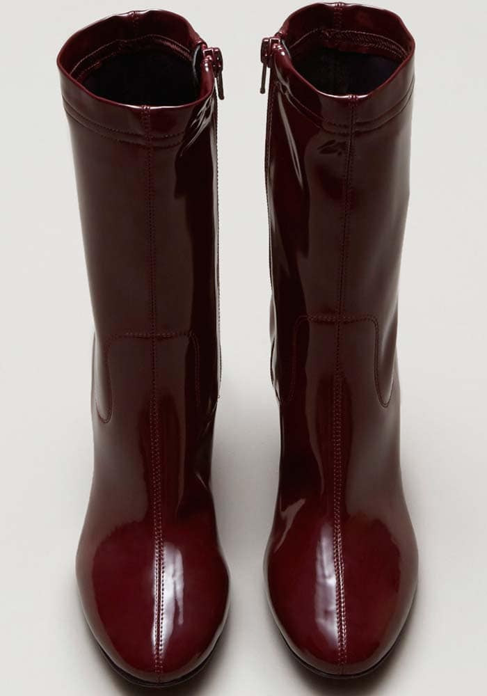 Kenneth Cole Krystal Patent Leather Boot Burgundy