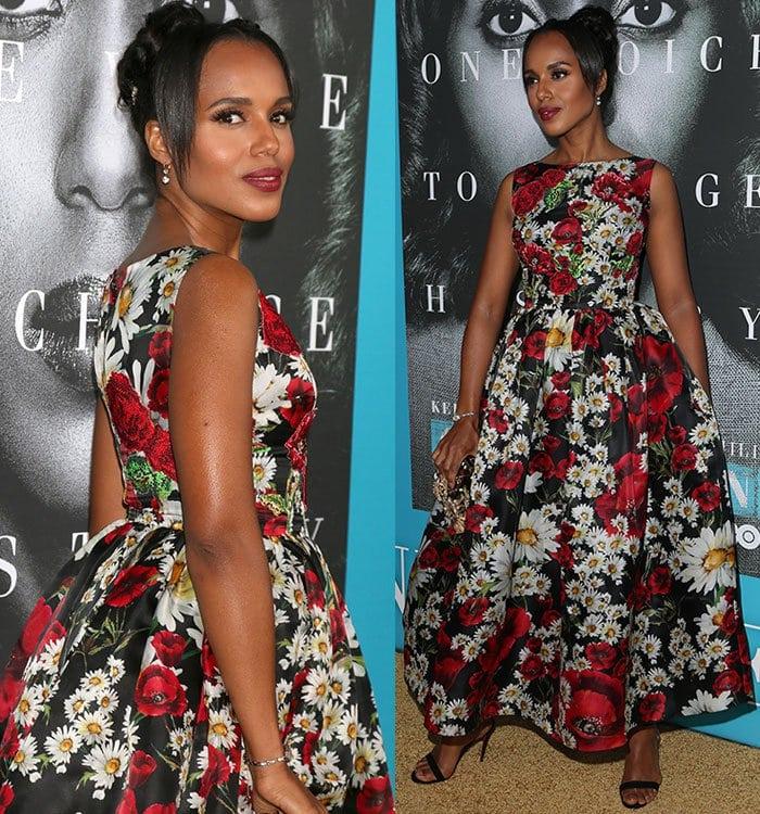 Kerry-Washington-Dolce-Gabbana-Poppy-Daisy-Print-Dress