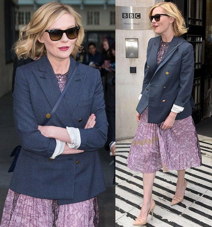 Kirsten-Dunst-Gucci-floral-dress-blue-blazer-BBC