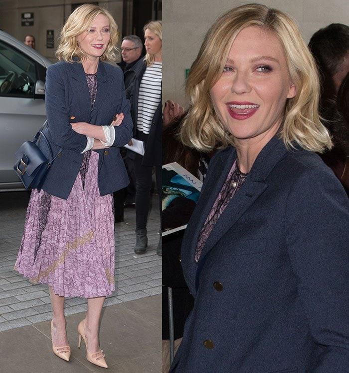 Kirsten-Dunst-Gucci-lavender-floral-dress-blue-blazer